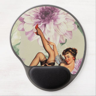 vintage pin up girl floral gel mouse pad
