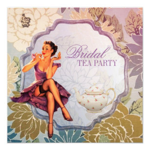 vintage pin up girl housewife retro bridal shower invitation