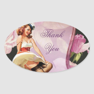 Vintage Pin Up Girl housewife Retro Bridal Shower Oval Sticker