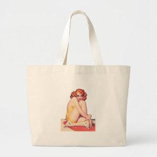 Vintage Pin Up Girl Jumbo Tote Bag