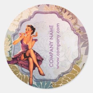 vintage pin up girl makeup artist classic round sticker