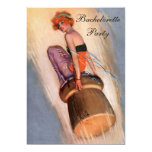 Vintage Pin Up Girl on Champagne Cork Bachelorette 5x7 Paper Invitation Card