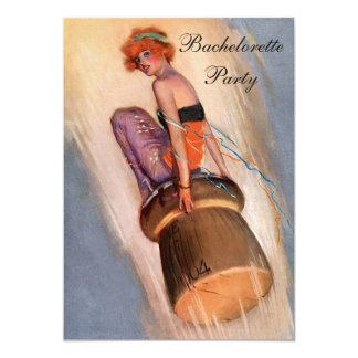 Vintage Pin Up Girl on Champagne Cork Bachelorette 5x7 Paper Invitation Card