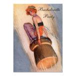 "Vintage Pin Up Girl on Champagne Cork Bachelorette 5"" X 7"" Invitation Card"