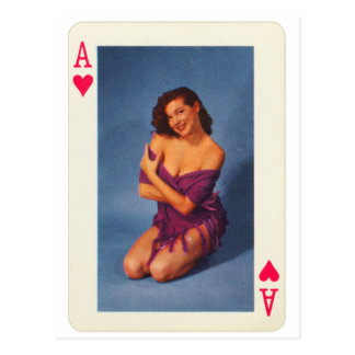 Vintage Pin Up Girl Playing Card Ace of Hearts