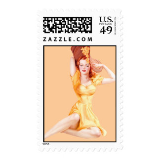 Vintage Pin Up Girl Postage