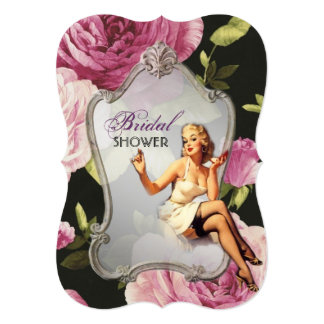 vintage pin up girl retro Bridal Shower Tea Party 5x7 Paper Invitation Card