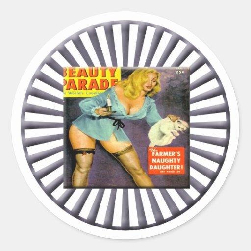 Vintage Pin Up Girl Round Sticker