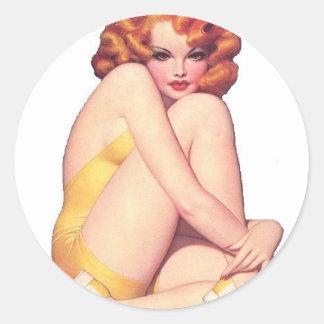 Vintage Pin Up Girl Sticker