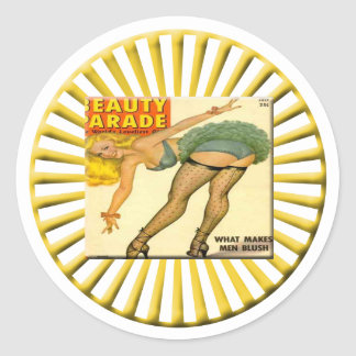 Vintage Pin Up Girl Round Stickers