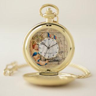 Vintage Pin up Girl Travel the World Design Pocket Watch