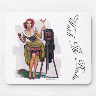 Vintage Pin Up Girl, Watch The Birdie, Mouse Pad, Mouse Pad