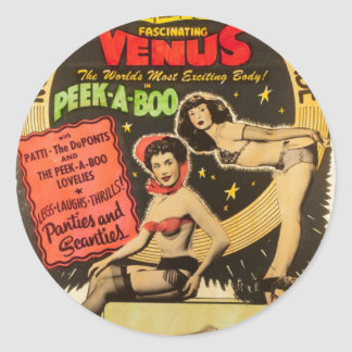 Vintage Pin Up Girls Lingerie Peep Show Poster Classic Round Sticker