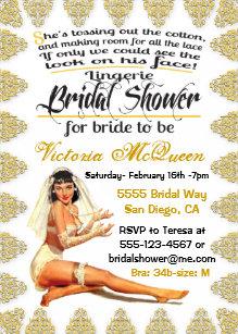 vintage pin up lingerie bridal shower invitations