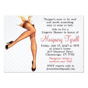 Vintage Pin Up Lingerie Shower Bridal Shower Card Custom Invites