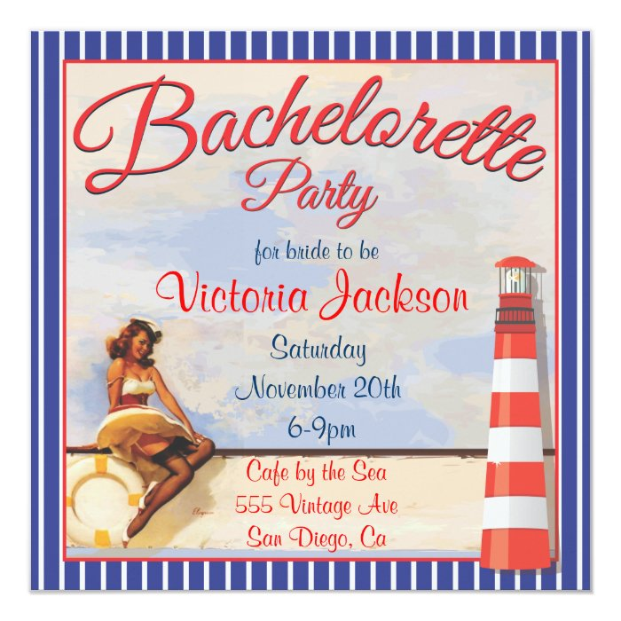 Vintage Pin up Nautical Bachelorette Party Card
