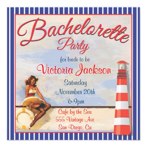 Personalized Nautical party Invitations – Vintage Bachelorette Party Invitations
