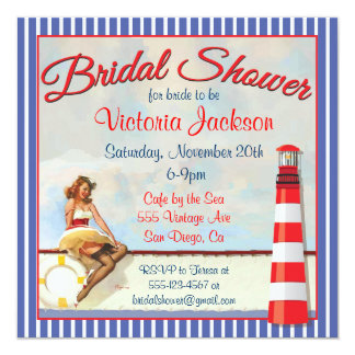 Vintage Pin up Nautical Bridal Shower Invitations