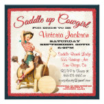 Vintage Pin up Rockabilly Cowgirl Bridal Shower Personalized Invites