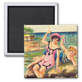 Vintage Pin Up Victorian Bathing Suit Girl Fishing 2 Inch Square Magnet