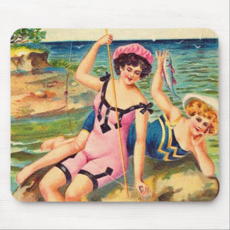 Vintage Pin Up Victorian Bathing Suit Girl Fishing Mouse Pad