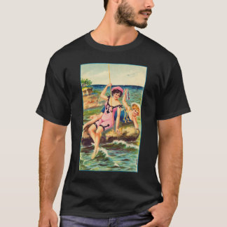 Vintage Pin Up Victorian Bathing Suit Girl Fishing T-Shirt
