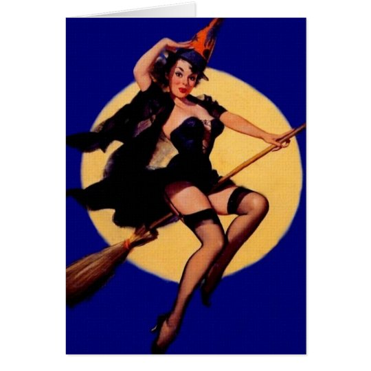 Vintage Pin Up Witch Card