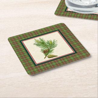 Vintage Pine Christmas Plaid Square Paper Coaster