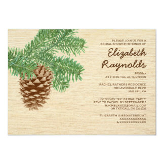 Vintage Pine Cone Bridal Shower Invitations