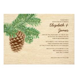 Vintage Pine Cone Wedding Invitations Announcements