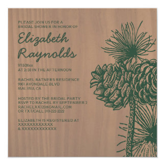 Vintage Pine Cones Bridal Shower Invitations Invitation