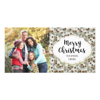Vintage Pine Cones Christmas Picture Photo Card