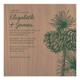 Vintage Pine Cones Wedding Invitations Personalized Announcement