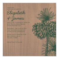 Vintage Pine Cones Wedding Invitations