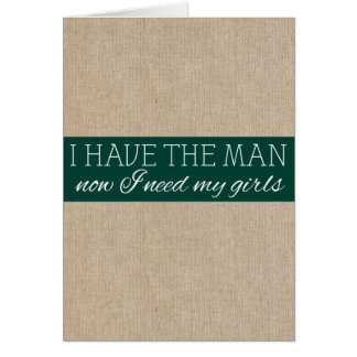 Vintage Pine Green Burlap Bridesmaid Request Card
