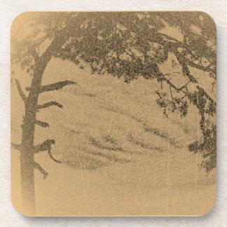 Vintage Pine tree silhouette, sunrise Coaster