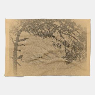 Vintage Pine tree silhouette sunrise Hand Towels