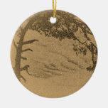 Vintage Pine tree silhouette, sunrise Ornament