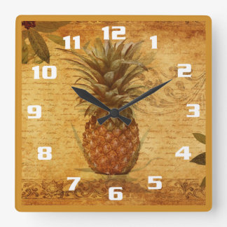 Vintage Pineapple and Calligraphy Gorgeous Kitchen Square Wall Clock