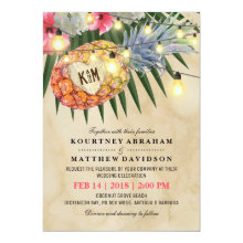 Vintage Pineapple Beach Tropical Wedding Invitations