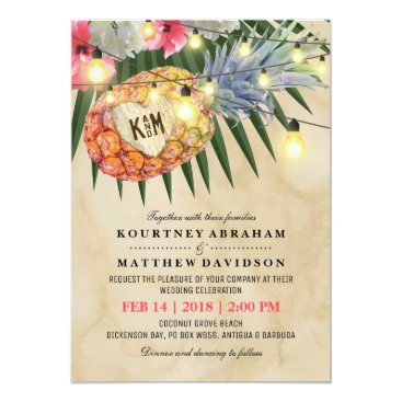 Beach Themed Vintage Pineapple Beach Tropical Wedding Card
