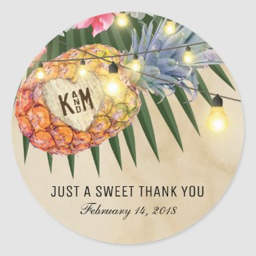 Beach Themed Vintage Pineapple Beach Tropical Wedding Classic Round Sticker