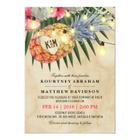 Vintage Pineapple Beach Tropical Wedding Invitation