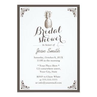 Vintage Pineapple Bridal Shower 5x7 Paper Invitation Card