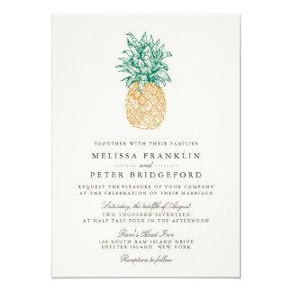 Vintage Pineapple II Wedding Invitation