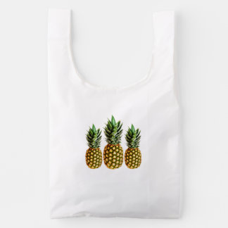 Vintage pineapple image foldable shopping bags