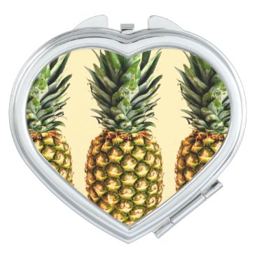 Valentines Themed Vintage pineapple love heart compact mirror