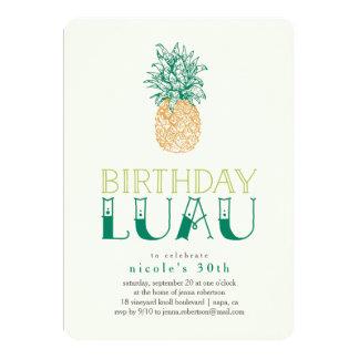 Vintage Pineapple Luau Birthday Party Invitation