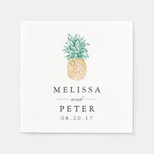 Vintage Pineapple Personalized Wedding Napkin at Zazzle