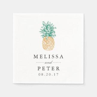 Vintage Pineapple Personalized Wedding Napkin